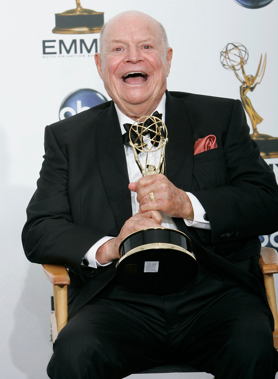 ". Don Rickles holds the award for outstanding individual performance in a variety or music program for his work on the ""Mr. Warmth: The Don Rickles Project\"" at the 60th Primetime Emmy Awards Sunday, Sept. 21, 2008, in Los Angeles.  (AP Photo/Reed Saxon)"