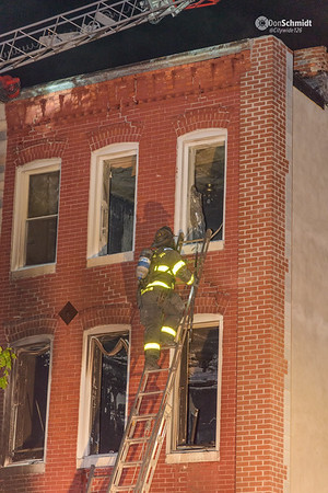 Baltimore City Box 36-20, 503 N. Monroe Street, May 2, 2018. Fire in a believed to be occupied rowhouse. Original dispatch reported people trapped.