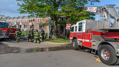 Box 53-21, 1001 Lyndhurst St, occupied rowhouse, fire basement and first floor. May 7, 2018; cat resuscitated
