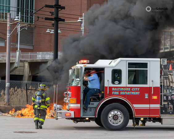 """Baltimore City Tactical Box 23-52, M&T Bank Stadium, Lot H, 1101 Russell Street. Fire involved multiple """"porta potties."""" Male fatality."""