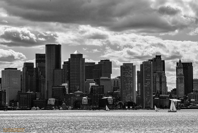 Boston Skyline in HDR-B&W_2