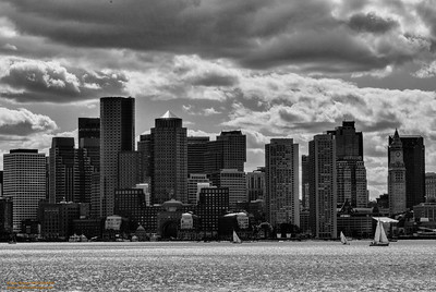 Boston Skyline in HDR-B&W