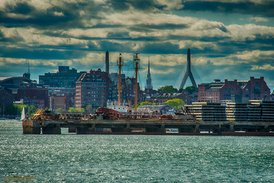 Bunker Hill, Old North Church, Zakim Bridge Tower, Charlestown from Boston Harbor Boston, Massachusetts
