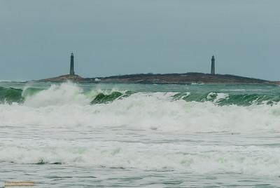 "Storm's Aftermath - Twin Lights on Thatcher's Island"" Gloucester, Massachusetts"