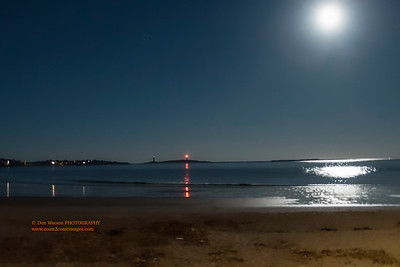 """Twin Lights and Super Moon"""