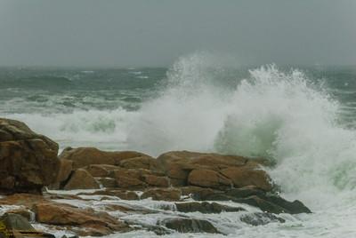 """""""Surf from Hurricane Sandy"""" - Magnolia Shore Road, Gloucester, Massachusetts"""