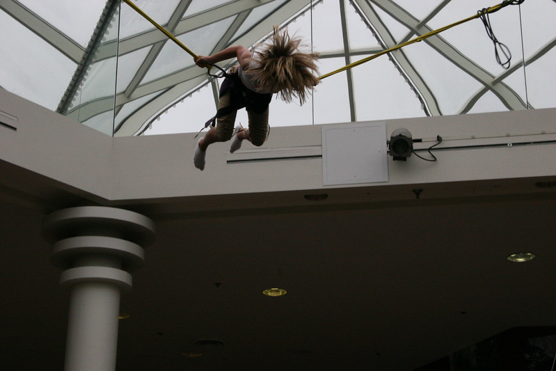 Colleen Kremer on bungie at some mall near Cadillac - July 5, 2005