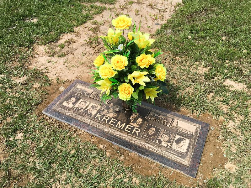 Cherie Kremer's grave marker - May 8, 2016