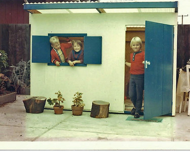 Alan, Janet and Carolin playhouse Don built, 1966