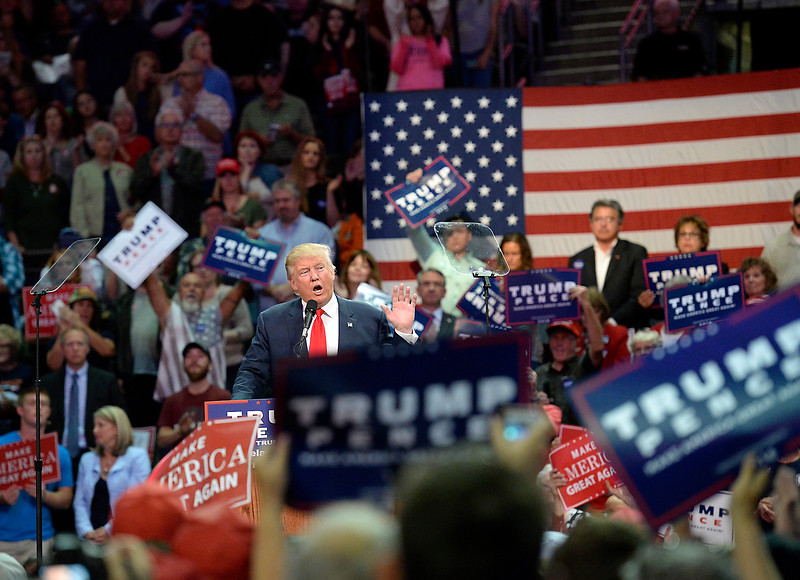 Donald Trump speaks Monday, Oct. 3, 2016, during a rally at the Budweiser Events Center in Loveland. (Photo by Jenny Sparks/Loveland Reporter-Herald)