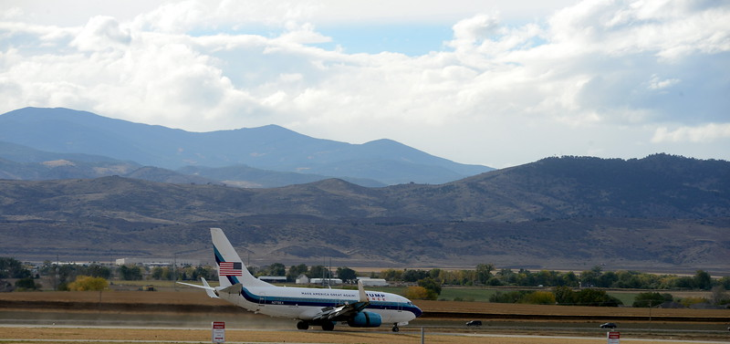 Donald Trump's jet decelerates after landing on the runway at the Northern Colorado Regional Airport in Loveland on Monday afternoon, Oct. 3, 2016, bringing the Republican presidential candidate to town for a speech at the Budweiser Events Center. (Photo by Craig Young / Loveland Reporter-Herald)