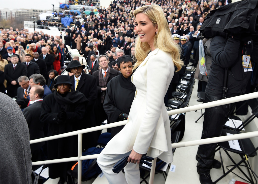. Ivanka Trump arrives on Capitol Hill in Washington, Friday, Jan. 20, 2017, for the presidential inauguration of her father Donald Trump. (Saul Loeb/Pool Photo via AP)