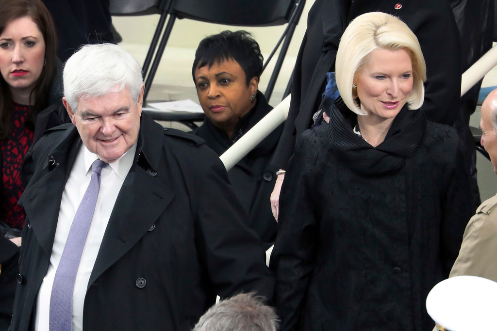 . Former House Speaker Newt Gingrich and his wife Callista arrive before the 58th Presidential Inauguration at the U.S. Capitol in Washington, Friday, Jan. 20, 2017. (AP Photo/Andrew Harnik)