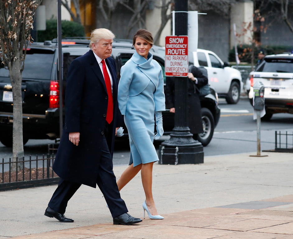 . President-elect Donald Trump and his wife Melania arrives for a church service at St. John�s Episcopal Church across from the White House in Washington, Friday, Jan. 20, 2017, on Donald Trump\'s inauguration day. (AP Photo/Alex Brandon)