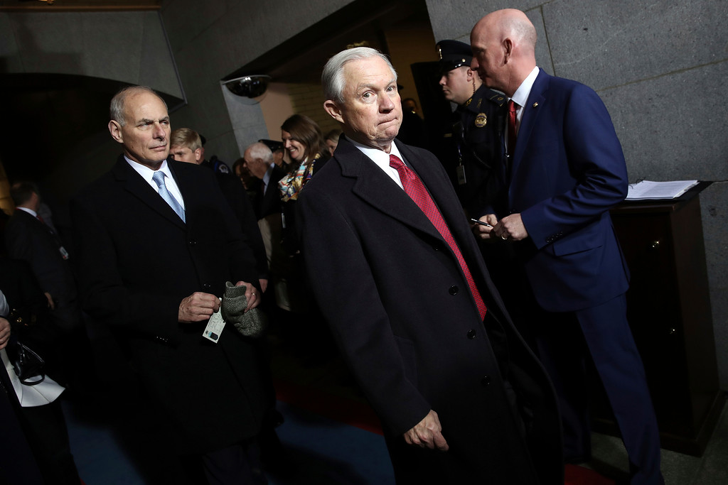 . Attorney General-designate Sen. Jeff Sessions arrives on the West Front of the U.S. Capitol on Friday, Jan. 20, 2017, in Washington, for the inauguration ceremony of Donald J. Trump as the 45th president of the United States. (Win McNamee/Pool Photo via AP)