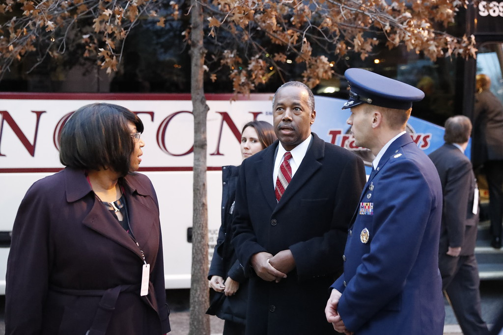 . Housing and Urban Development Secretary-designate Dr. Ben Carson and his wife Candy, arrives for church service at St. John�s Episcopal Church across from the White House in Washington, Friday, Jan. 20, 2017, on Donald Trump\'s inauguration day. (AP Photo/Alex Brandon)