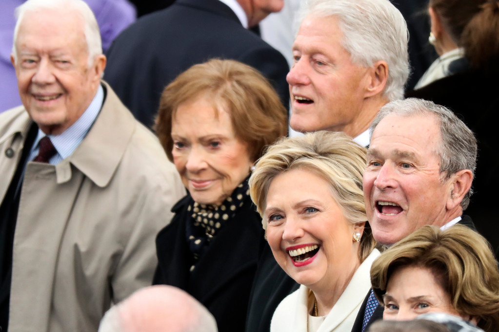 . Former President Jimmy Carter (L-R), Rosalynn Carter, Former President Bill Clinton, Hillary Clinton and Former President George W. Bush wait for the 58th Presidential Inauguration to begin at the U.S. Capitol in Washington, Friday, Jan. 20, 2017. (AP Photo/Andrew Harnik)