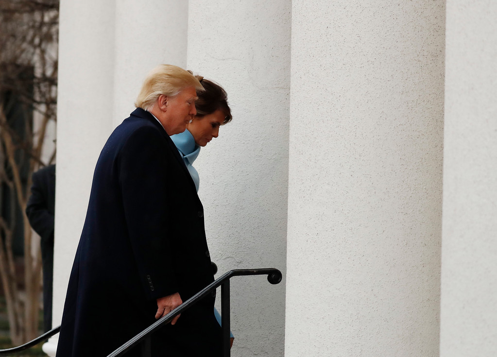 . President-elect Donald Trump and his wife Melania arrive for church service at St. John�s Episcopal Church across from the White House in Washington, Friday, Jan. 20, 2017, on Donald Trump\'s inauguration day. (AP Photo/Alex Brandon)