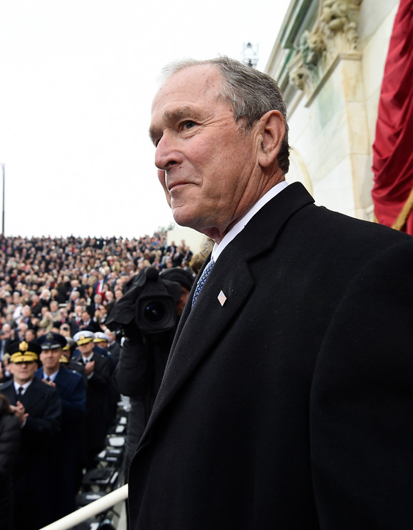 . Former President George W. Bush arrives on Capitol Hill in Washington, Friday, Jan. 20, 2017, for the presidential inauguration of Donald Trump. (Saul Loeb/Pool Photo via AP)