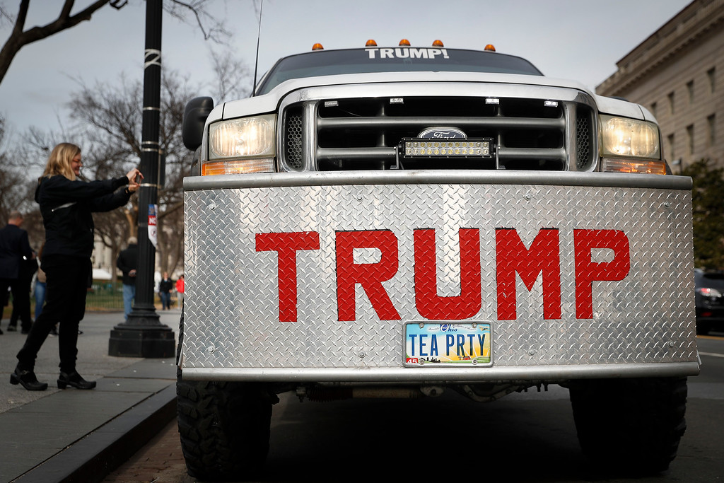 . A truck bearing the name of President-elect Donald Trump is parked near the National Mall in Washington, Thursday, Jan. 19, 2017, as preparations for Friday\'s presidential inauguration. (AP Photo/John Minchillo)