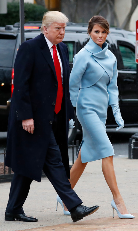 . President-elect Donald Trump and his wife Melania arrives for a church service at St. John\'s Episcopal Church across from the White House in Washington, Friday, Jan. 20, 2017, on Donald Trump\'s inauguration day. (AP Photo/Alex Brandon)