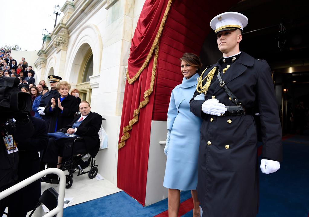 . Melania Trump arrives on Capitol Hill in Washington, Friday, Jan. 20, 2017, for the presidential inauguration of her husband, Donald Trump. (Saul Loeb/Pool Photo via AP)