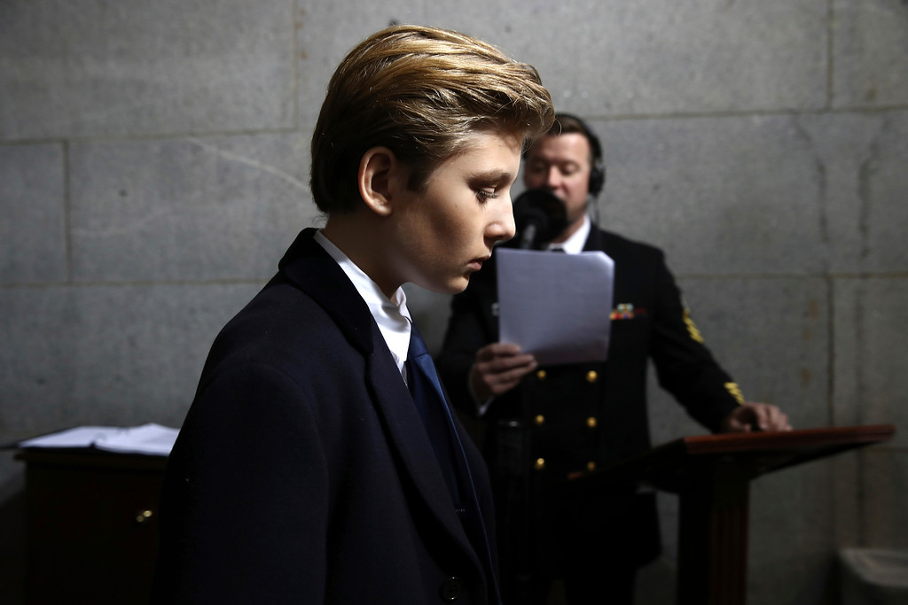 . Barron Trump arrives on the West Front of the U.S. Capitol on Friday, Jan. 20, 2017, in Washington, for the inauguration ceremony of Donald J. Trump as the 45th president of the United States. (Win McNamee/Pool Photo via AP)