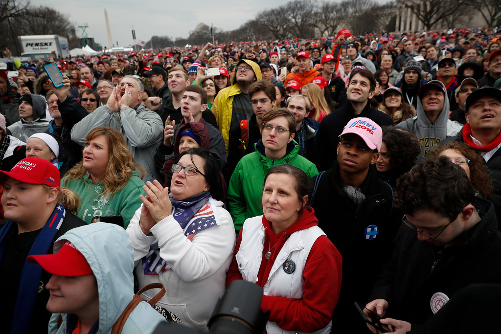 . Spectators gather on the National Mall during the inauguration of President-elect Donald Trump, Friday, Jan. 20, 2017, in Washington. (AP Photo/John Minchillo)