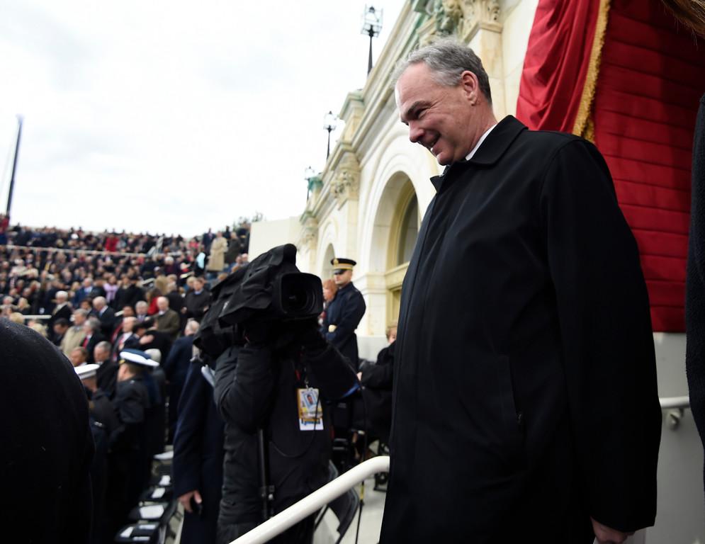 . Sen. Tim Kaine, D-Va. arrives on Capitol Hill in Washington, Friday, Jan. 20, 2017, for the presidential inauguration of Donald Trump. (Saul Loeb/Pool Photo via AP)