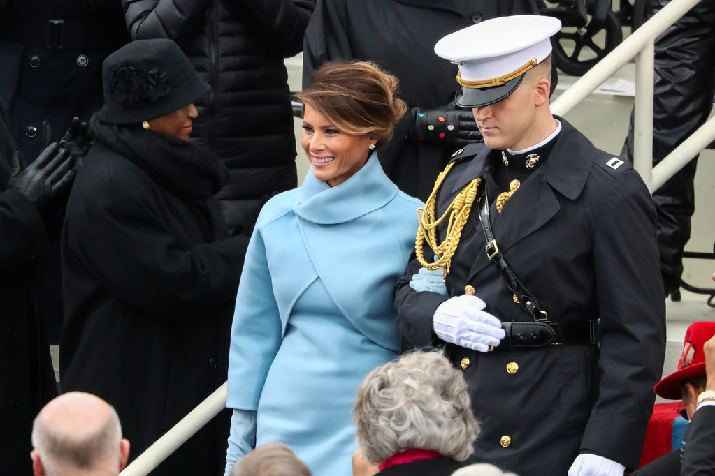 . President-elect Donald Trump\'s wife Melania Trump arrives during the 58th Presidential Inauguration at the U.S. Capitol in Washington, Friday, Jan. 20, 2017. (AP Photo/Andrew Harnik)