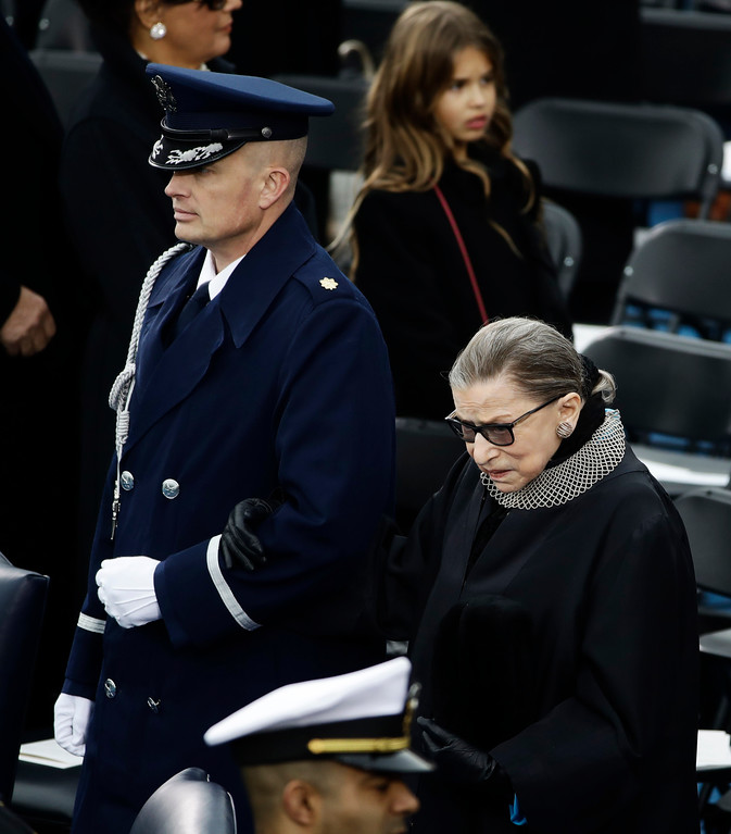 . Supreme Court justice Ruth Bader Ginsburg arrive for 58th Presidential Inauguration for President-elect Donald Trump at the U.S. Capitol in Washington, Friday, Jan. 20, 2017. (AP Photo/Matt Rourke)