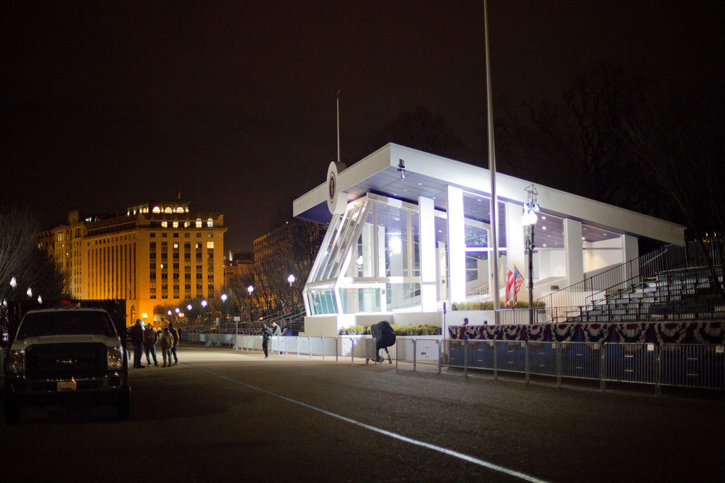 . The presidential inaugural reviewing stand on Pennsylvania Avenue in front of the White House in Washington, Friday, Jan. 20, 2017, on Donald Trump\'s inauguration day.  (AP Photo/Pablo Martinez Monsivais)