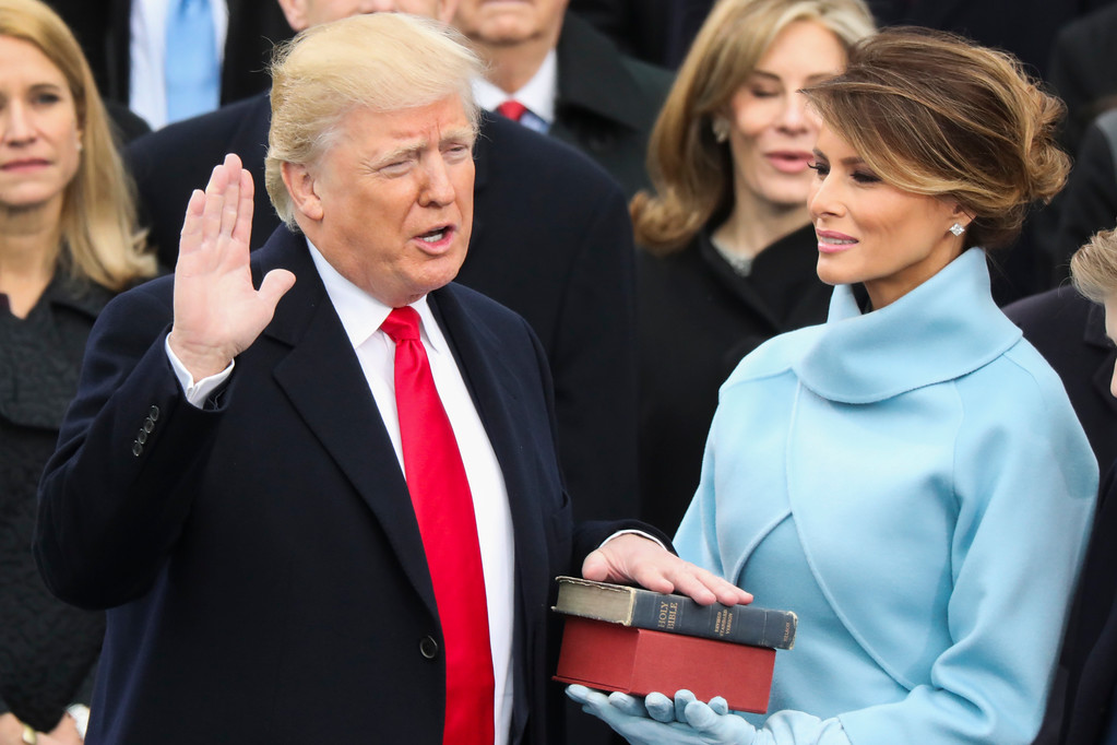 . Donald Trump is sworn in as the 45th president of the United States as Melania Trump looks on during the 58th Presidential Inauguration at the U.S. Capitol in Washington, Friday, Jan. 20, 2017. (AP Photo/Andrew Harnik)