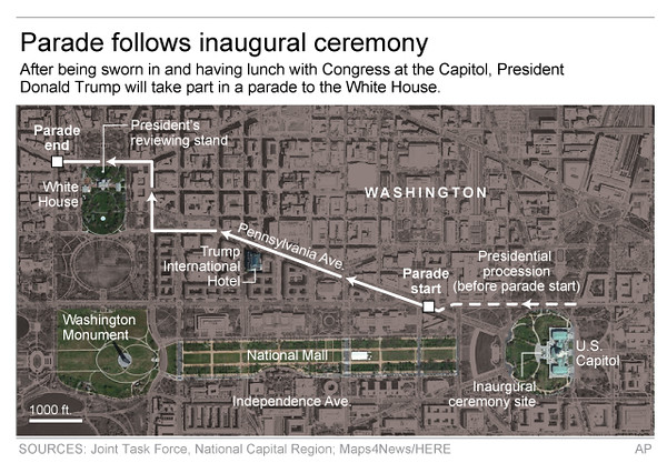 . Graphic highlights Donald Trump�s presidential inauguration parade route and key areas in the Washington D.C. area; 3c x 3 1/4 inches; 146 mm x 82 mm;