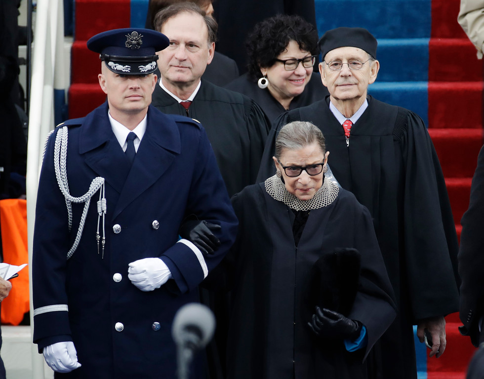 . Members of the Supreme Court arrive for the 58th Presidential Inauguration for President-elect Donald Trump at the U.S. Capitol in Washington, Friday, Jan. 20, 2017. (AP Photo/Patrick Semansky)