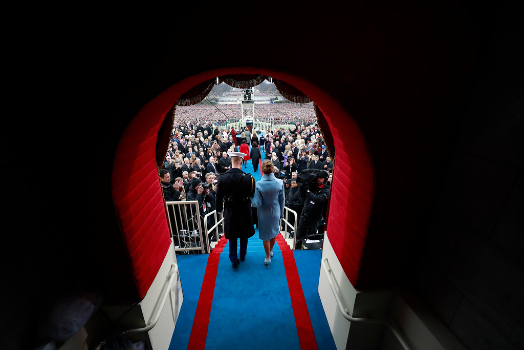. Melania Trump arrives on Capitol Hill in Washington, Friday, Jan. 20, 2017, for the presidential inauguration of her husband, Donald Trump. (Doug Mills/Pool Photo via AP)