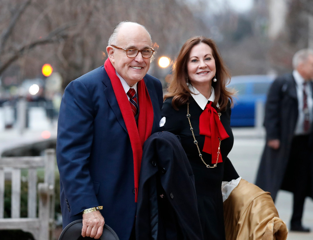 . Rudy Giuliani and his wife Judith, arrives for a church service at St. John�s Episcopal Church across from the White House in Washington, Friday, Jan. 20, 2017, on Donald Trump\'s inauguration day. (AP Photo/Alex Brandon)