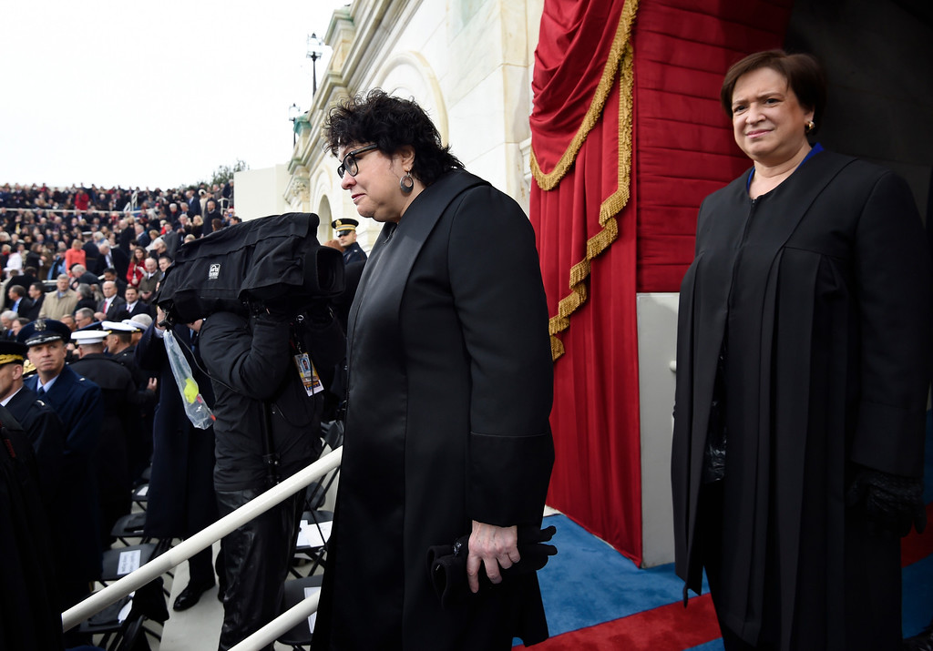 . Supreme Court Justices Sonia Sotomayor, left, and Elena Kagan arrive on Capitol Hill in Washington, Friday, Jan. 20, 2017, for the presidential inauguration of Donald Trump. (Saul Loeb via AP, Pool)