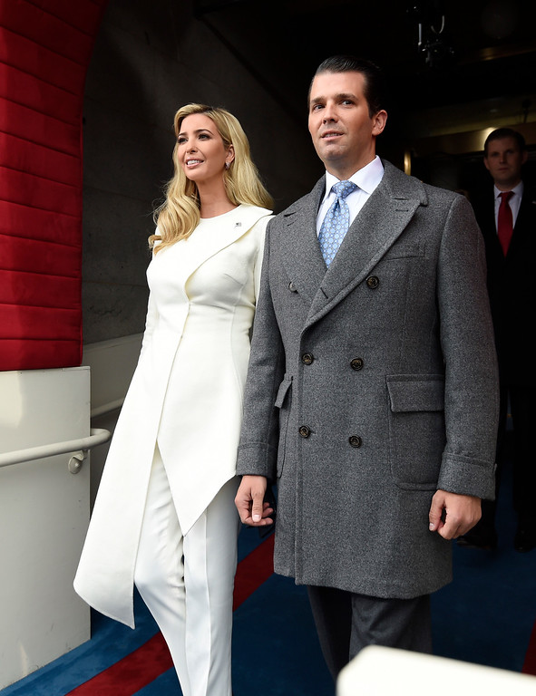 . Donald Trump, Jr., and Ivanka Trump arrive for the presidential inauguration of their father Donald Trump at the U.S. Capitol in Washington, Friday, Jan 20, 2017. (Saul Loeb/Pool photo via AP)