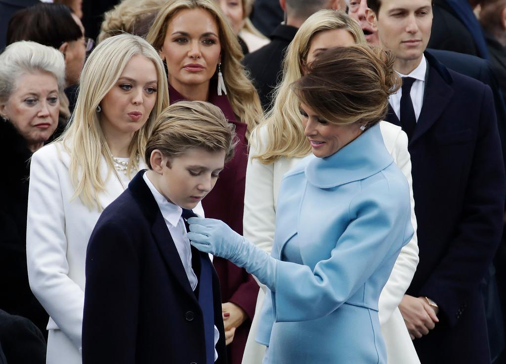 . President-elect Donald Trump\'s wife Melania Trump adjusts Barron Trump\'s tie before the 58th Presidential Inauguration for President-elect Donald Trump at the U.S. Capitol in Washington, Friday, Jan. 20, 2017. (AP Photo/Patrick Semansky)