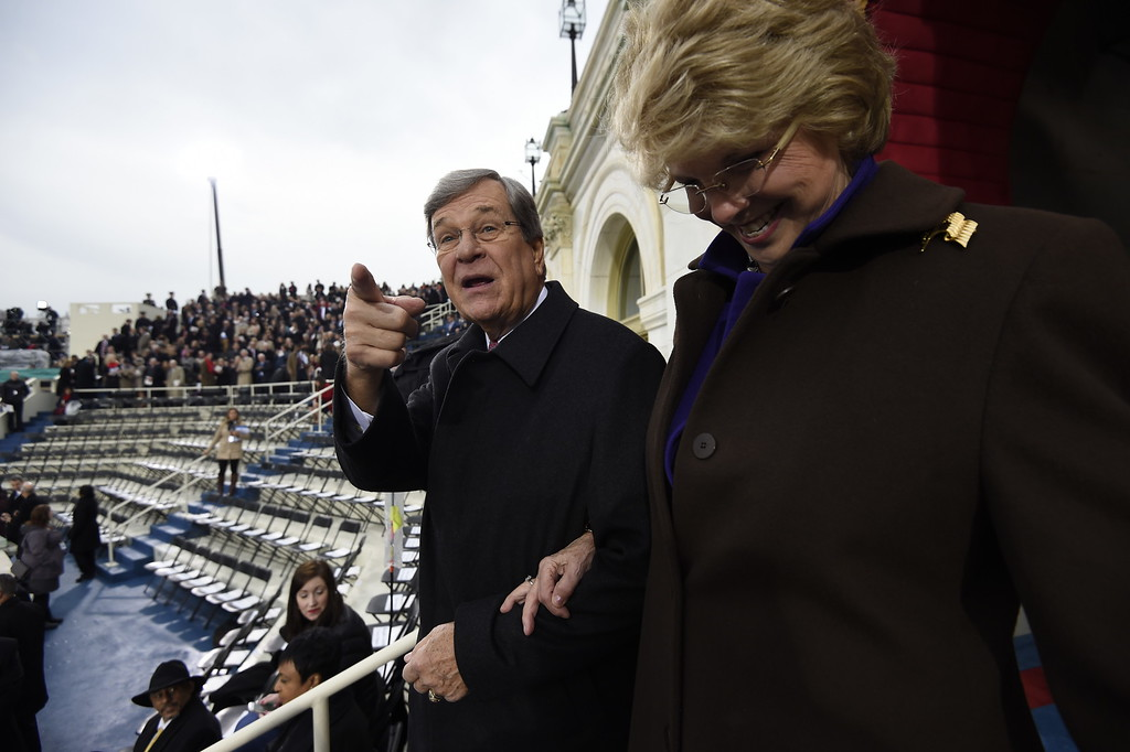. Former Senate Majority Leader Trent Lott and his wife Patricia arrive on Capitol Hill in Washington, Friday, Jan. 20, 2017, for the presidential inauguration of Donald Trump. (Saul Loeb/Pool Photo via AP)