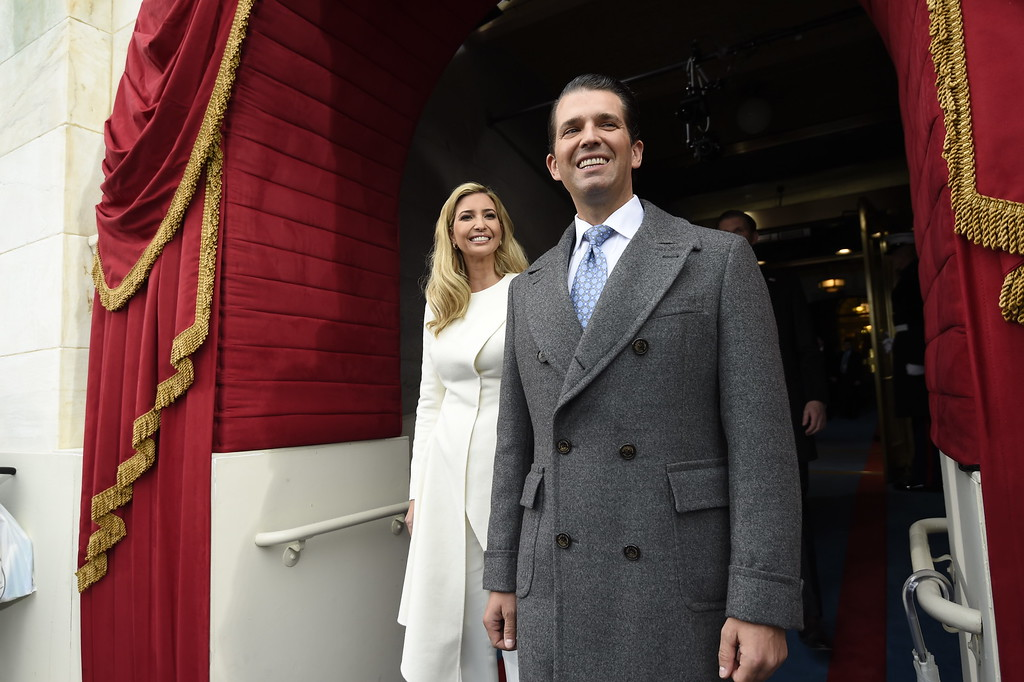 . Donald Trump, Jr., and Ivanka Trump arrive for the Presidential Inauguration of their father Donald Trump at the US Capitol in Washington, DC, January 20, 2017. / AFP PHOTO / POOL / SAUL LOEB