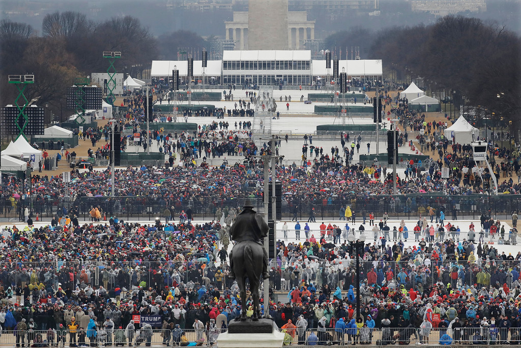 . Crowds fill in along the National Mall before the swearing in of Donald Trump as the 45th president of the Untied States during the 58th Presidential Inauguration at the U.S. Capitol in Washington. Friday, Jan. 20, 2017. (AP Photo/Patrick Semansky)