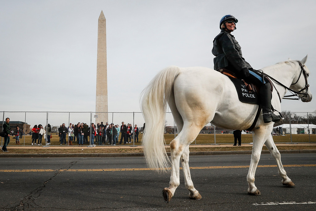 . A mounted police officer patrols near the Washington Memorial in Washington, Thursday, Jan. 19, 2017, as preparations continue for Friday\'s presidential inauguration. (AP Photo/John Minchillo)