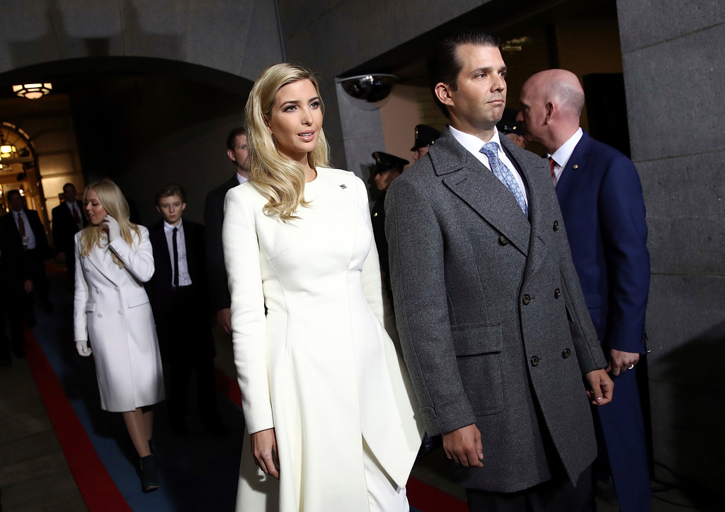 . Ivanka Trump and Donald Trump, Jr. arrive on the West Front of the U.S. Capitol on Friday, Jan. 20, 2017, in Washington, for the inauguration ceremony of Donald J. Trump as the 45th president of the United States. (Win McNamee/Pool Photo via AP)