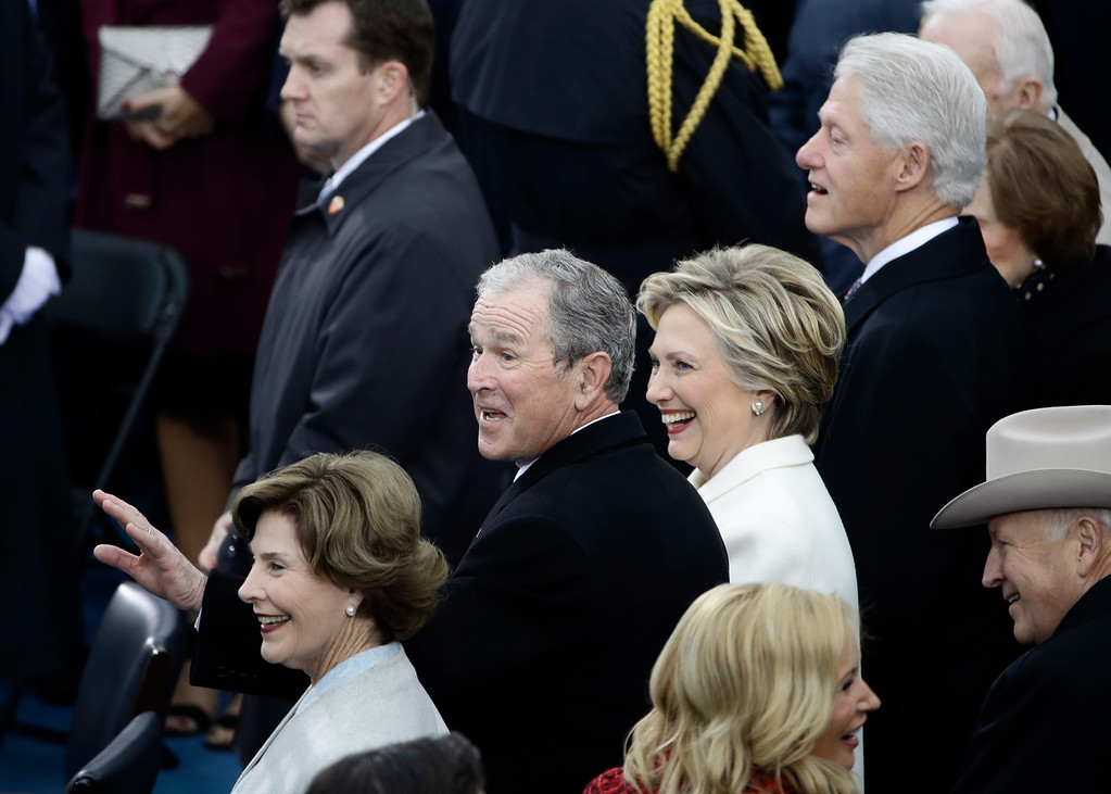 . Former President George W. Bush, left, his wife Laura, Former Secretary of State Hillary Clinton and Former President Bill Clinton wait for the 58th Presidential Inauguration for President-elect Donald Trump at the U.S. Capitol in Washington, Friday, Jan. 20, 2017. (AP Photo/Matt Rourke)