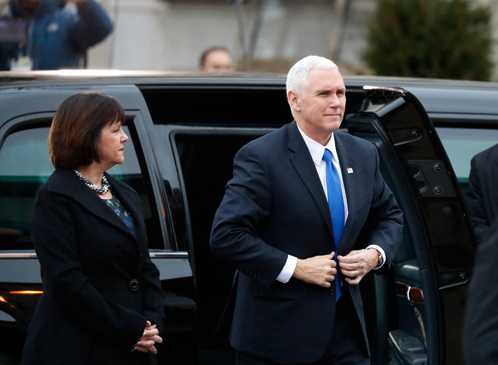 . Vice President-elect Mike Pence and his wife Karen, arrives for a church service at St. John�s Episcopal Church across from the White House in Washington, Friday, Jan. 20, 2017, on Donald Trump\'s inauguration day. (AP Photo/Alex Brandon)