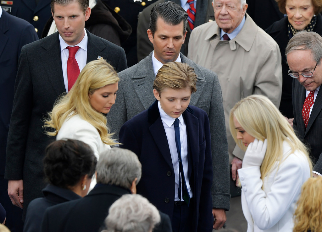 . President-elect Donald Trump\'s children look for the seats before the 58th Presidential Inauguration at the U.S. Capitol for President-elect Donald Trump in Washington, Friday, Jan. 20, 2017. (AP Photo/Susan Walsh)