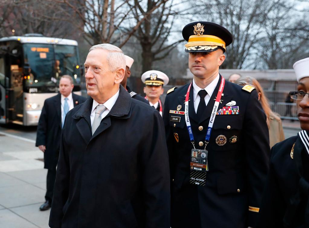 . Defense Secretary-designate James Mattis arrives for church service at St. John�s Episcopal Church across from the White House in Washington, Friday, Jan. 20, 2017, on Donald Trump\'s inauguration day. (AP Photo/Alex Brandon)