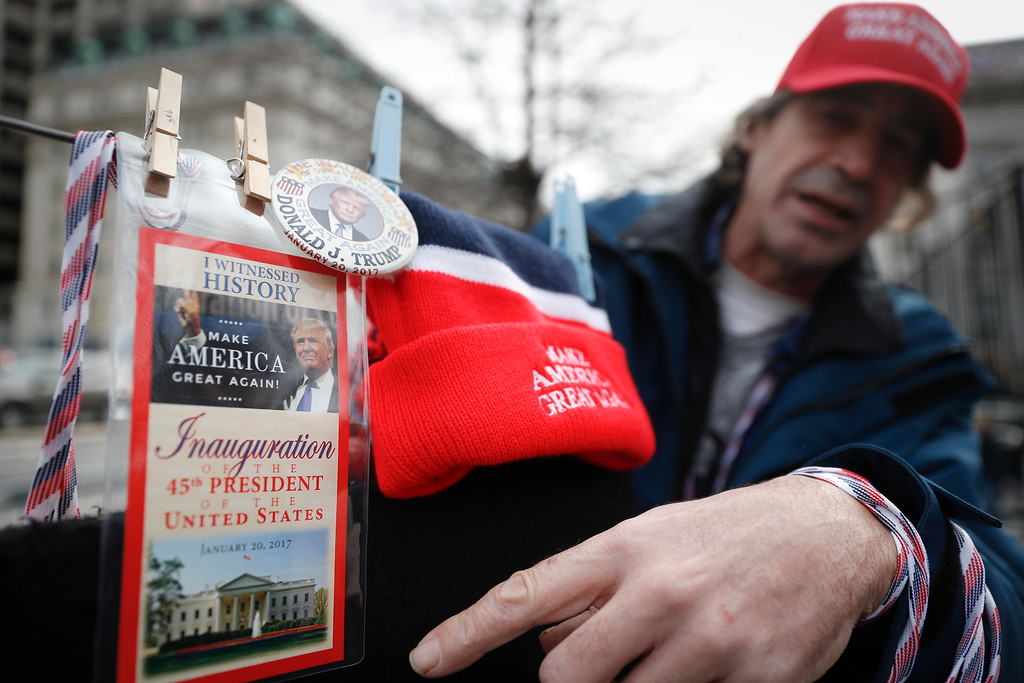 . Vendors sell their President-elect Donald Trump wares in Washington, Thursday, Jan. 19, 2017, as preparations continue for Friday\'s presidential inauguration. (AP Photo/John Minchillo)